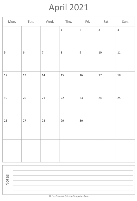 Printable April Calendar 2021 (vertical)