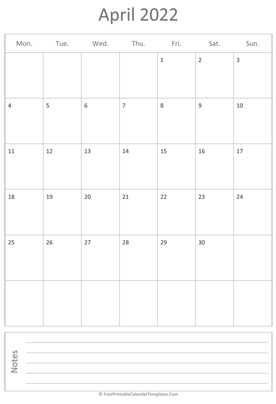 printable april calendar 2022 vertical