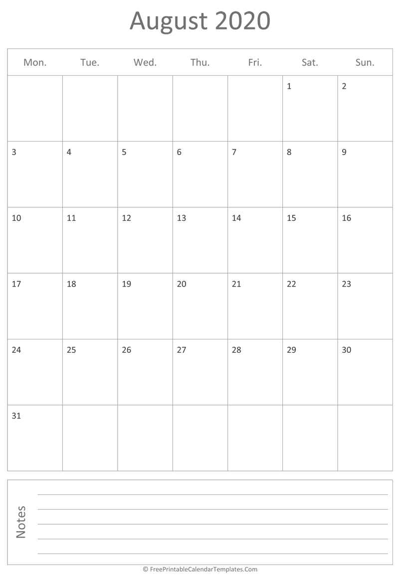 picture about Vertical Calendar Printable identify Printable August Calendar 2020 (vertical)