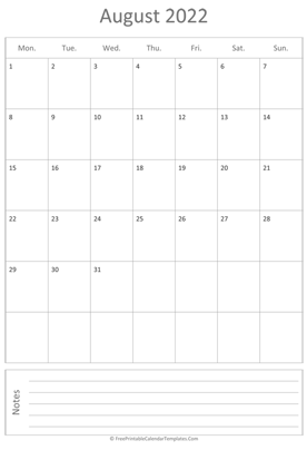 printable august calendar 2022 vertical