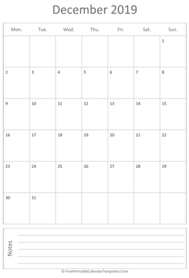printable december calendar 2019 vertical layout