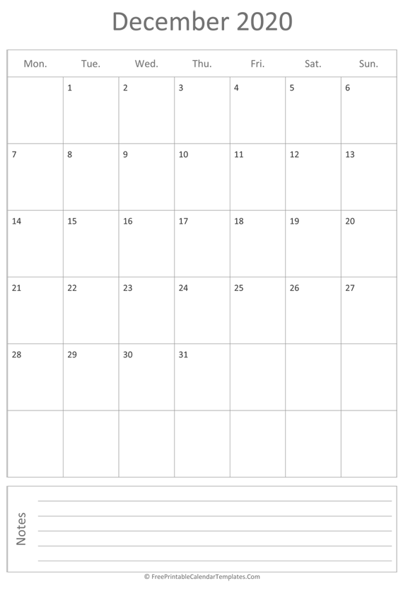Printable December Calendar 2020 (vertical)