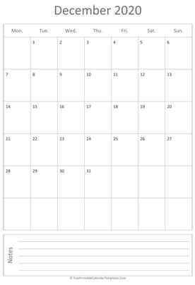 December Calendar 2020.Free Printable Calendar Templates 2019 2020