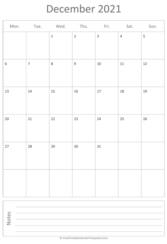 Printable December Calendar 2021 (vertical)