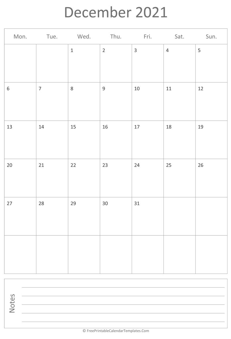 Printable December Calendar 2021 (vertical)
