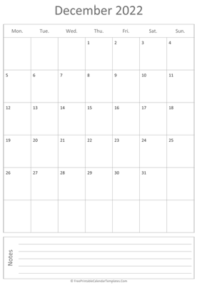 printable december calendar 2022 vertical