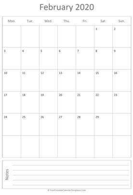 Printable Vertical February 2020 Calendar Free Printable Calendar Templates 2019, 2020
