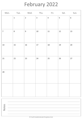 printable february calendar 2022 vertical