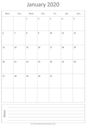 January Vertical Calendar 2020 January 2020 Calendar Templates | FreePrintableCalendarTemplates.Com
