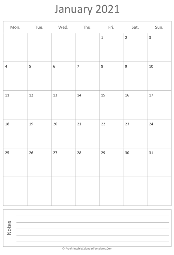 Printable January Calendar 2021 (vertical)