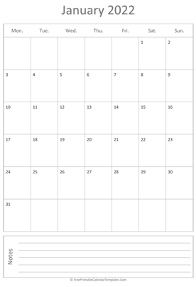 printable january calendar 2022 vertical