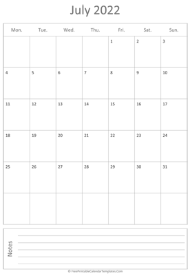 printable july calendar 2022 vertical