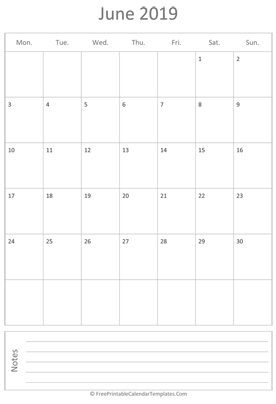 printable june calendar 2019 vertical layout