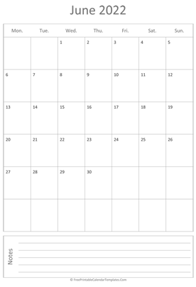 printable june calendar 2022 vertical