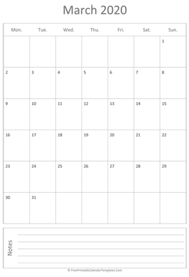 printable march calendar 2020 vertical layout