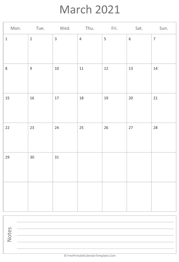 Printable March Calendar 2021 (vertical)