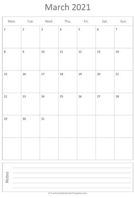 printable march calendar 2021 vertical layout