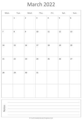 printable march calendar 2022 vertical