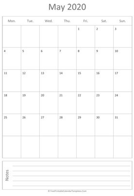 printable may calendar 2020 vertical layout