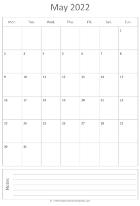 printable may calendar 2022 vertical