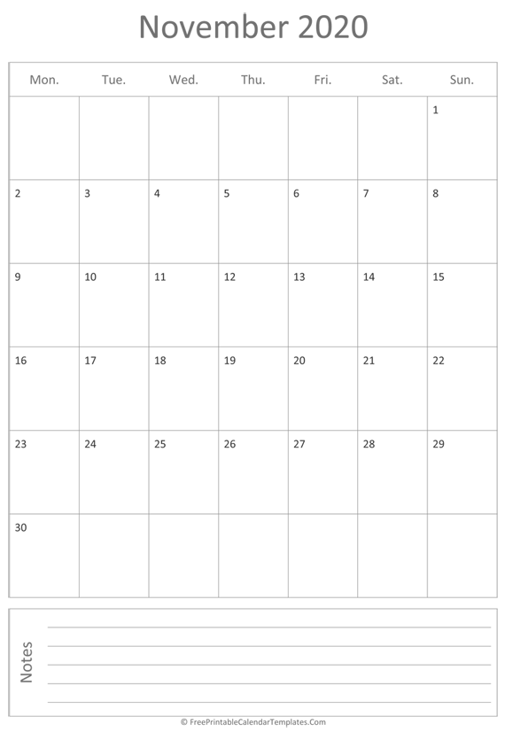 Printable November Calendar 2020 (vertical)