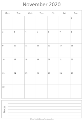 printable november calendar 2020 vertical layout