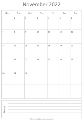 printable november calendar 2022 vertical