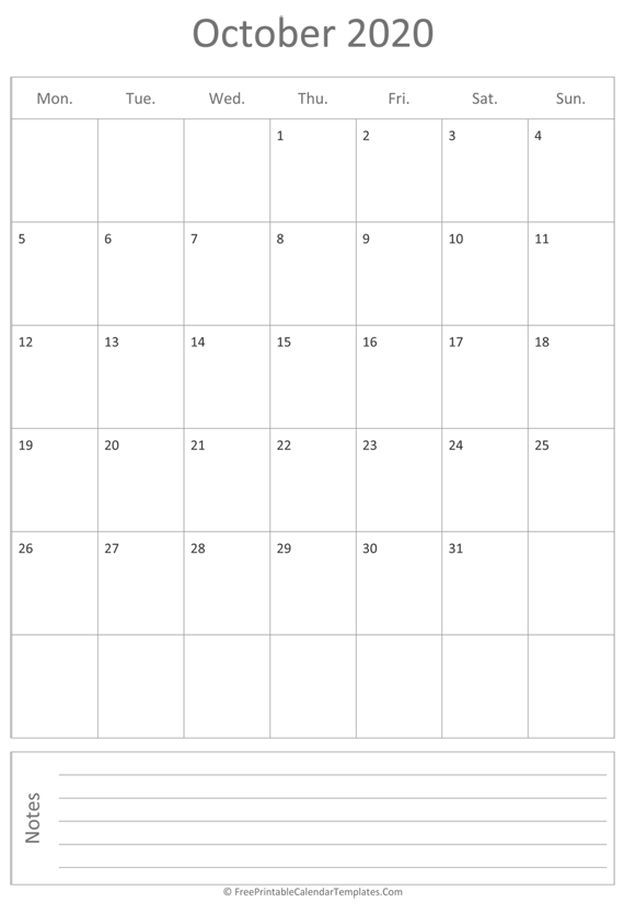 Printable October Calendar 2020 (vertical)