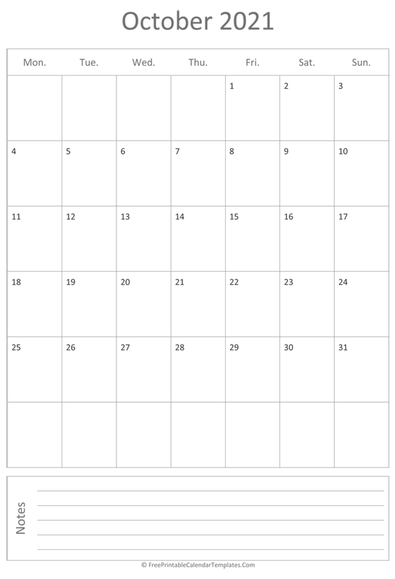 Printable October Calendar 2021 (vertical)