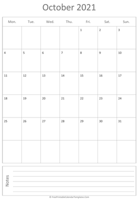 printable october calendar 2021 vertical layout