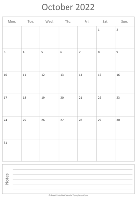 printable october calendar 2022 vertical