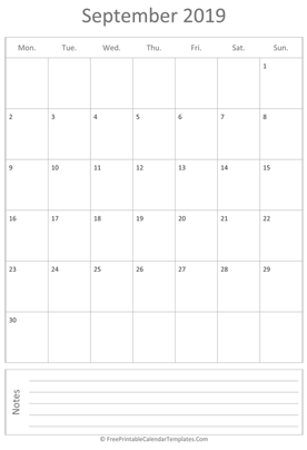 printable september calendar 2019 vertical layout