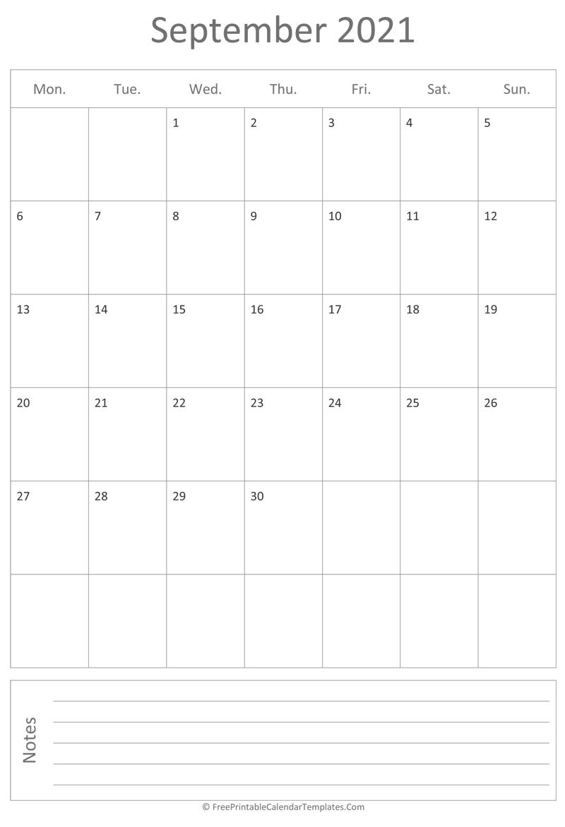 Printable September Calendar 2021 (vertical)
